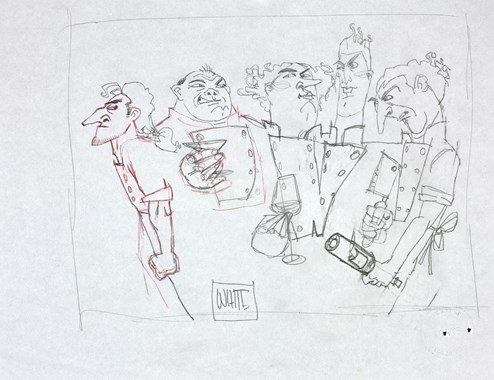 Those Mad Mad Chefs Sketch by Todd White - Original Drawing on Mounted Paper